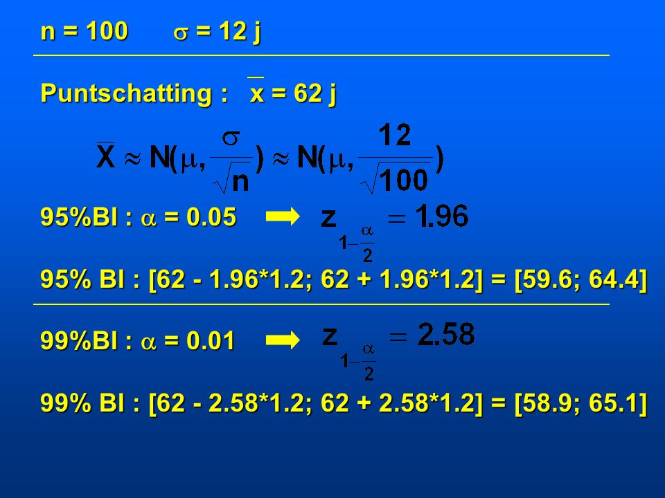 n = 100  = 12 j Puntschatting : x = 62 j. 95%BI :  = 0.05. 95% BI : [62 - 1.96*1.2; 62 + 1.96*1.2] = [59.6; 64.4]